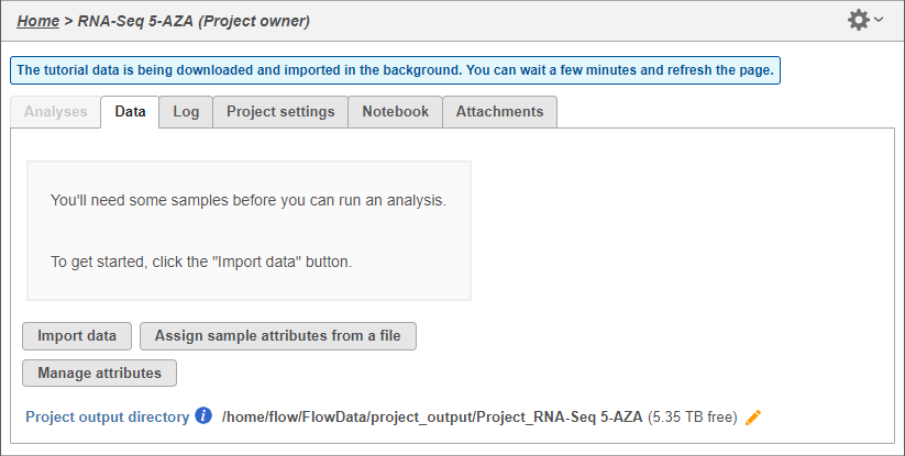 Importing the tutorial data set - Flow Documentation